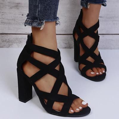 Front Crossover Straps Back Zipper Fastening Chunky Heel Sandals