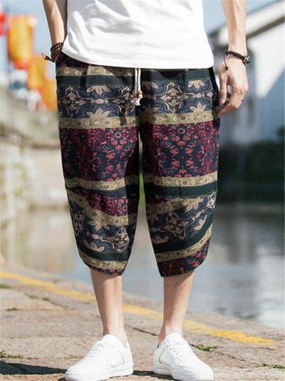 Comfy Retro Casual Print Elastic Waist Cropped Pants