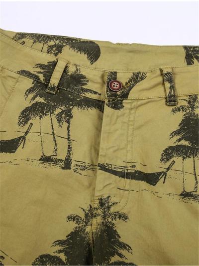 Casual Style Graphic Print Zipper Button Fastening Straight Leg Beach Shorts