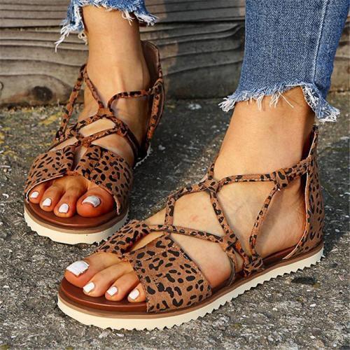 Multi-Strap Ridged Flat Sole Back Zipper Leopard Pattern Lightweight Sandals