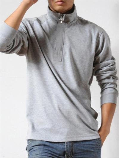 Relaxed Shape Stand Collar Front Zipper Fastening Straight Hem Polo Shirt