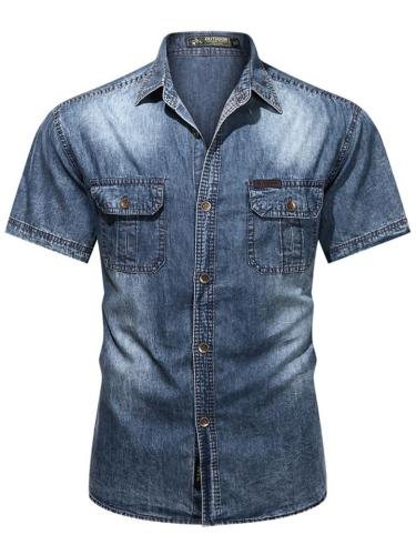 Faded Effect Classic Collar Chest Pocket Front Button Fastening Denim Shirt