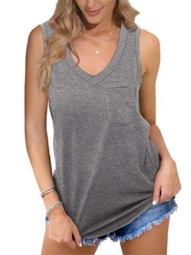 Relaxed Shape Chest Pocket V Neck Straight Hem Lightweight Basic Vest