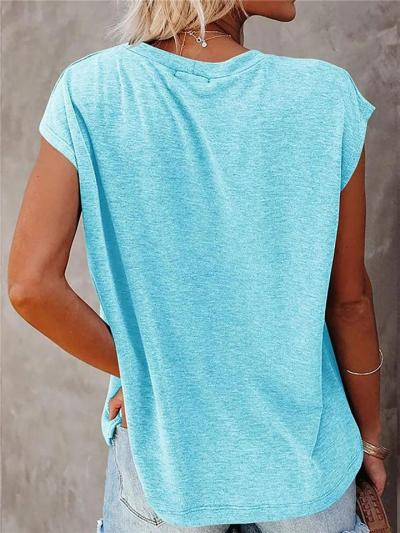 Casual Style Laid-Back Round Neck Straight Hem Front Floral Print T-Shirt