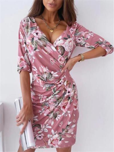 Feminine Design Wrap Neck Floral Print Ruched Detailing Thigh-Length Dress
