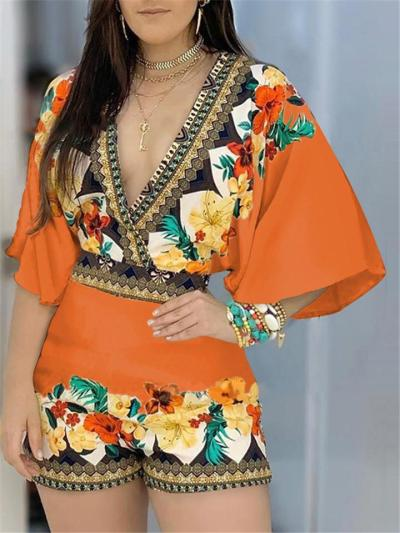 Fashionable Wrap Neck Fitted Waist Vibrant Floral Print Flare Sleeve Playsuit