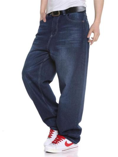 Loose-Fit Faded Effect Classic Pocket Wide-Leg Full-Length Jeans