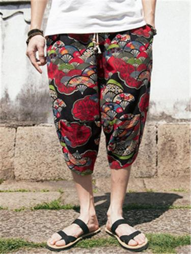 Comfy Retro Casual Print Elastic Waist Cropped Pants