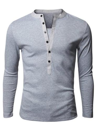Slim Fit Stand Collar Front Button Fastening Long Sleeve Basic Pullover Tops