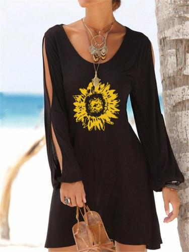 Casual On-Trendy Scoop Neck Front Print Shoulder Slit Thigh-Length Dress