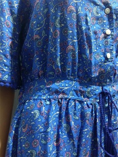Bohemian Style Wrap Neck Tassel Detailing Drawstring Pleated Maxi Dress