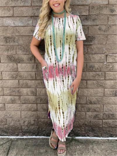 On-Trendy Relaxed Shape Round Neck Tie-Dye Side Slit Hem Calf-Length Dress