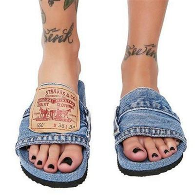 On-Trendy Casual Style Frayed Design Flat Sole Open-Toe Denim Slippers