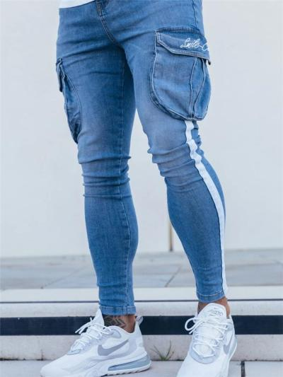 Mens Slim Fit Knitted Ankle Denim Pants With Pockets