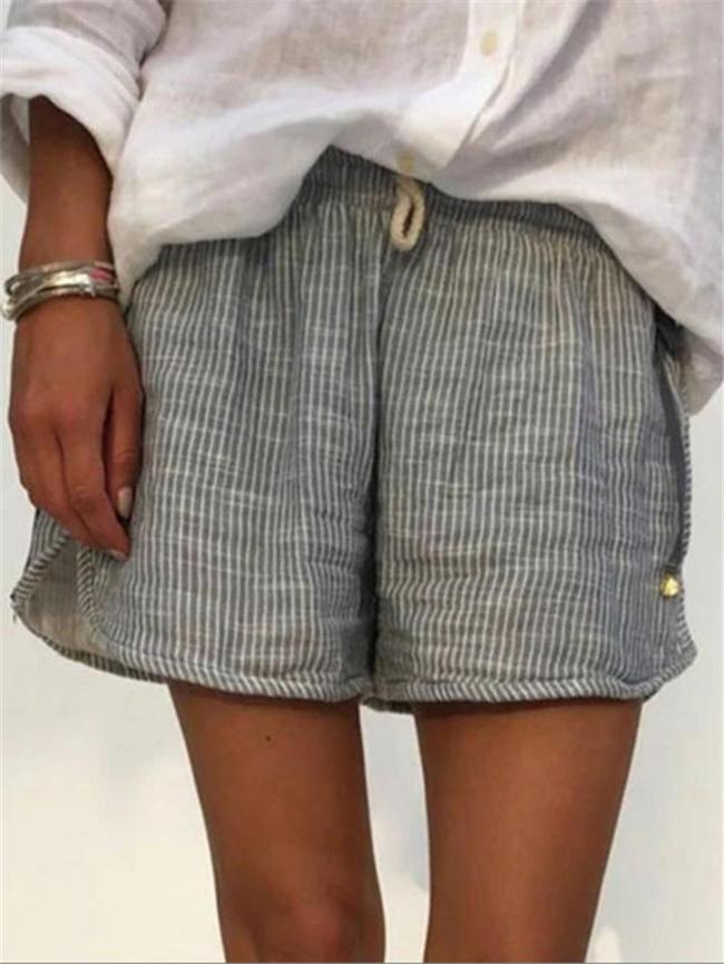 Relaxed Shape Laid-Back Drawstring Waistband Striped Pattern Linen Shorts
