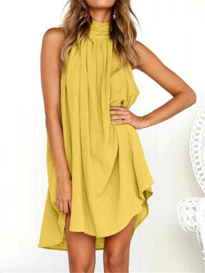 Casual Pleated Detailing High Neck Thigh-Length Cotton Linen Dress