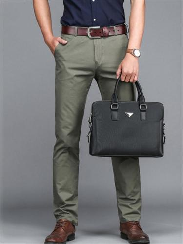 Casual Cotton Slim Fit Straight Plain Pants