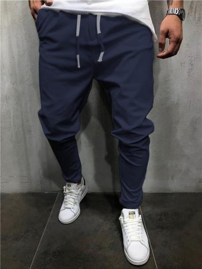 Casual Pure Color Drawstring Elastic Waist Pants