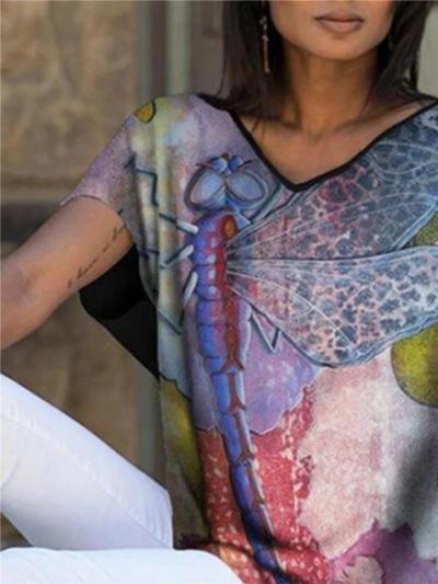 Oversized V Neck Multicolor Graphic Print Short Sleeve Pullover T-Shirt
