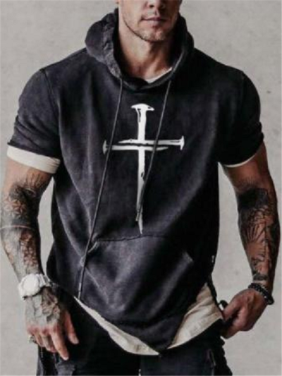 Mens Fashion Cross Print Short Sleeve Drawstring Hooded Hoodies