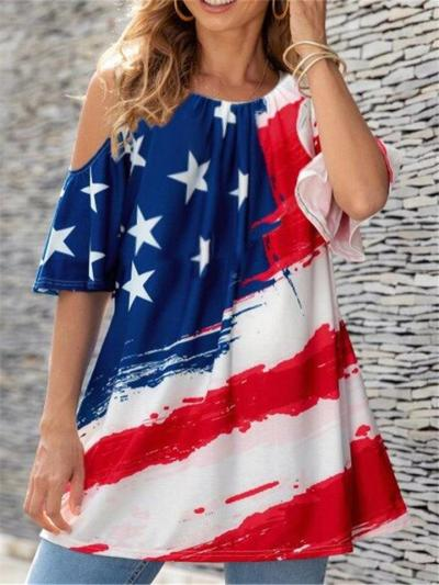 On-Trendy Crew Neck Flag Print Shoulder Cutout Flare Style Tops