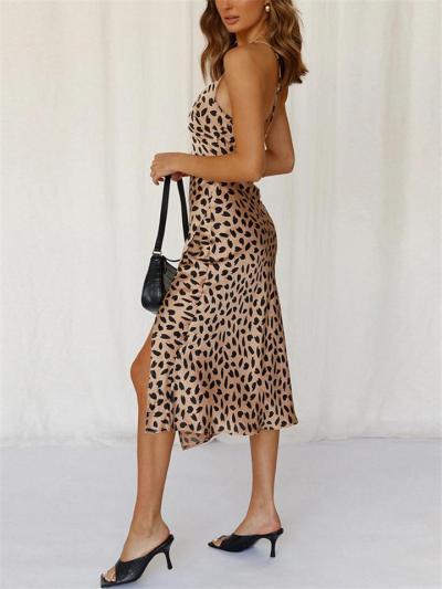 Sexy Pretty Spaghetti Strap All-Over Polka Dot Print Thigh-High Slit Midi Dress