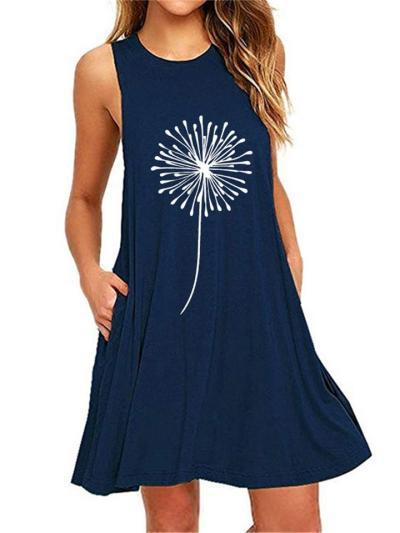 Relaxed Shape Scoop Neck Sleeveless Dandelion Print Pocket Mini Dress