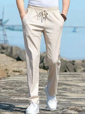 Loose Breathable Linen Straight Elastic Waist Pants
