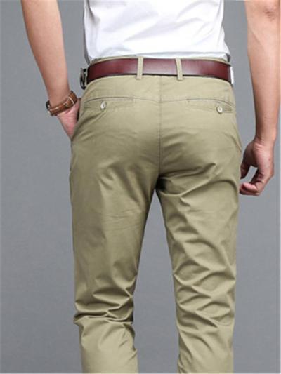 Casual Cotton Slim Fit Straight Plain Pants