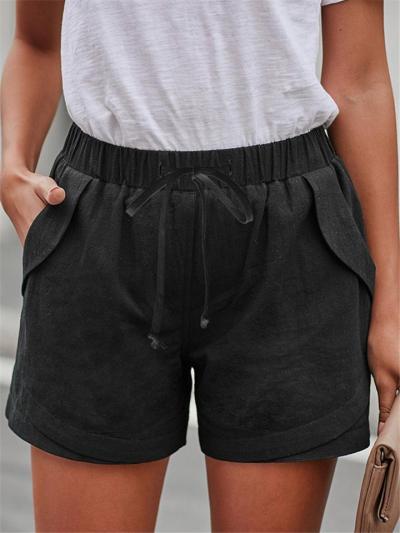 Soft Cotton Elastic Waist Drawstring Fastening Casual Pocket Basic Shorts
