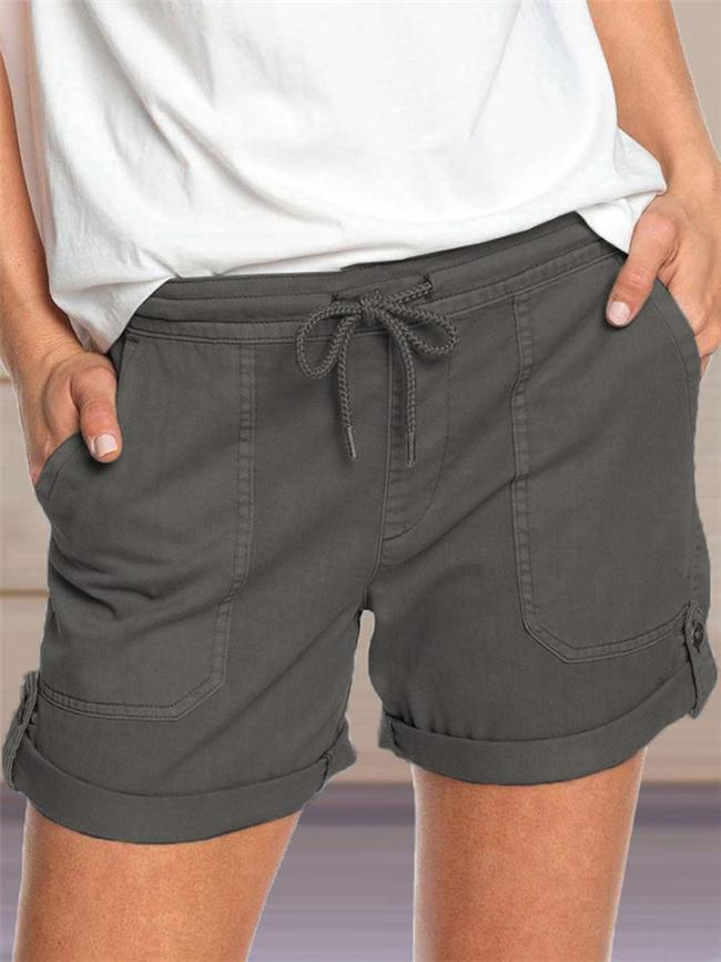 Laid-Back Style Waist Tie Patch Pocket Rolling-Up Hem Shorts