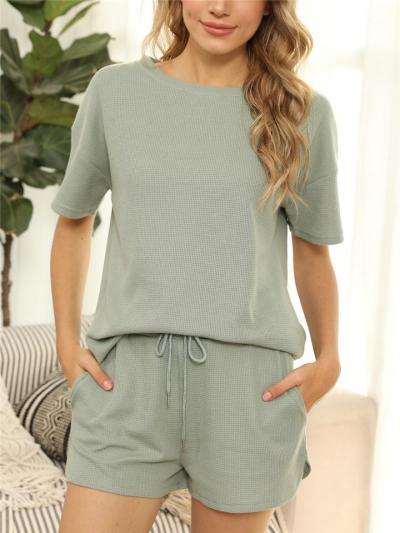 Soft Touch Leisure Wear 2 Piece Set Ribbed Top + Drawstring Shorts