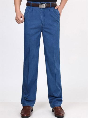 Elastane Classic Pure Color Straight Comfy Denim Pants
