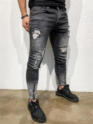 Elastane Zipper Slim Fit Distressed Denim Pants