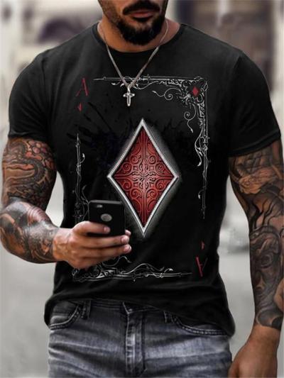 Casual Fashion Poker Print Personality Short Sleeve T-Shirts