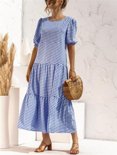 Check Print Pleated Detailing Balloon Sleeve Elasticated Cuff Flared Design Dress