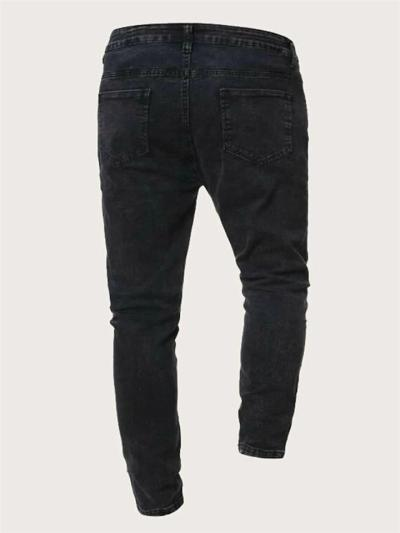 Casual Slim Fit Patchwork Denim Ankle Pants