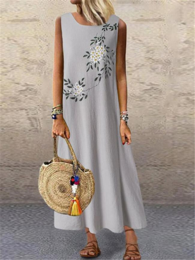 Relaxed Fit Scoop Neck Sleeveless Floral Print Cotton Linen Ankle-Length Dress