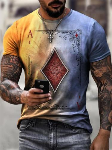 Casual Fashion Poker Print Personality Short Sleeve T-Shirts