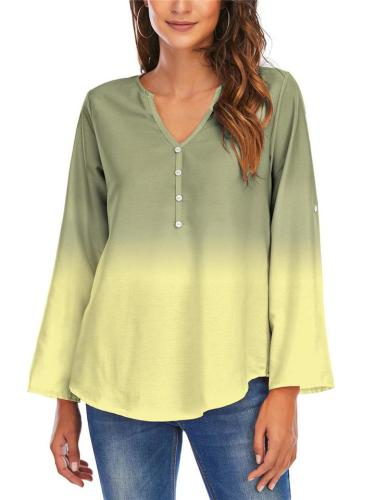 Loose Fit Rolling Up Sleeve Gradient Effect Rounded Hem Lightweight Top