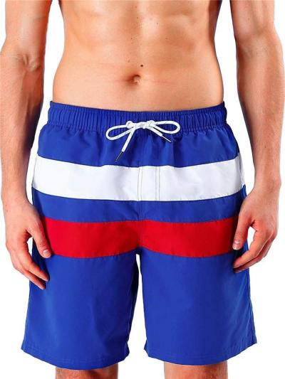 Quick Dry Patchwork Drawstring Elastic Waist Knee Shorts