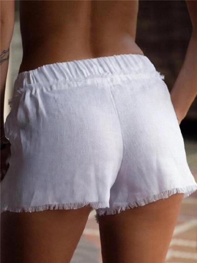Laid-Back Style Elastic Waistband Drawstring Frayed Trim Cotton Linen Pocket Shorts