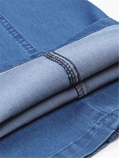 Elastane Classic Pure Color Straight Comfy Denim Pants