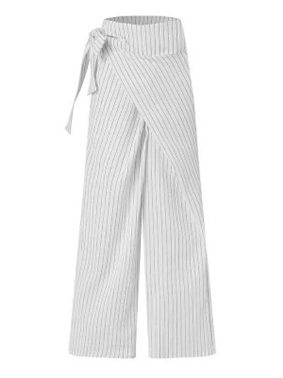 On-Trendy Side Tie Fastening Asymmetric Wrap Design Pocket Striped Pants