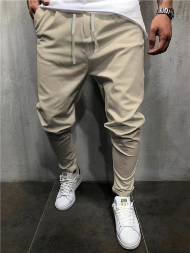 Casual Pure Color Drawstring Elastic Waist Pants
