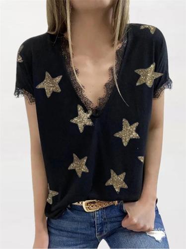 Dropped Shoulder Star Print Frayed Trim V Neck Relaxed Shape T-Shirt