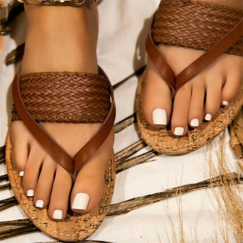 Casual Style Front Braided Design Contrasting Stitching Flat Sole Flip Flops