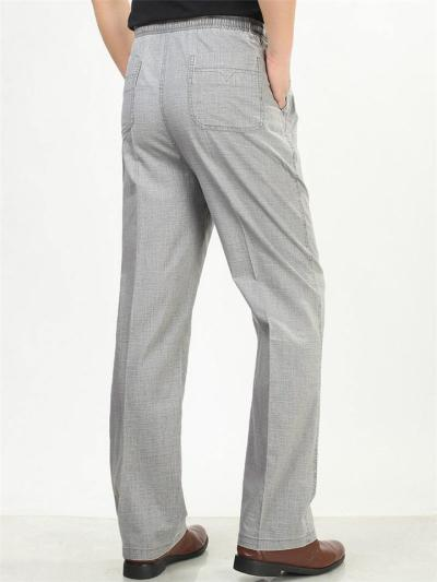 Elasticated Waistband Straight Leg Front Zipper Fastening Pocket Linen Pants