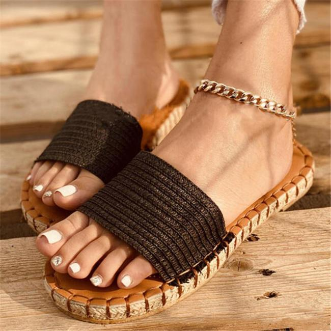 Slip-On Style Open-Toe Front Braided Design Contrasting Stitching Flat Slippers