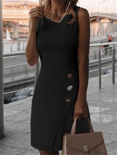 Scoop Neck Asymmetric Design Fitted Waist Sleeveless Mid-Length Dress